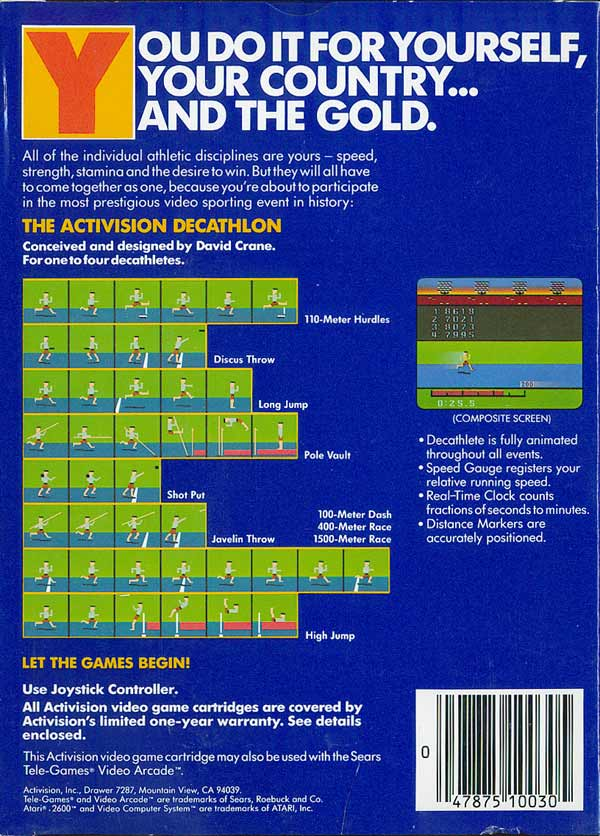 Activision Decathlon, The - Box Back