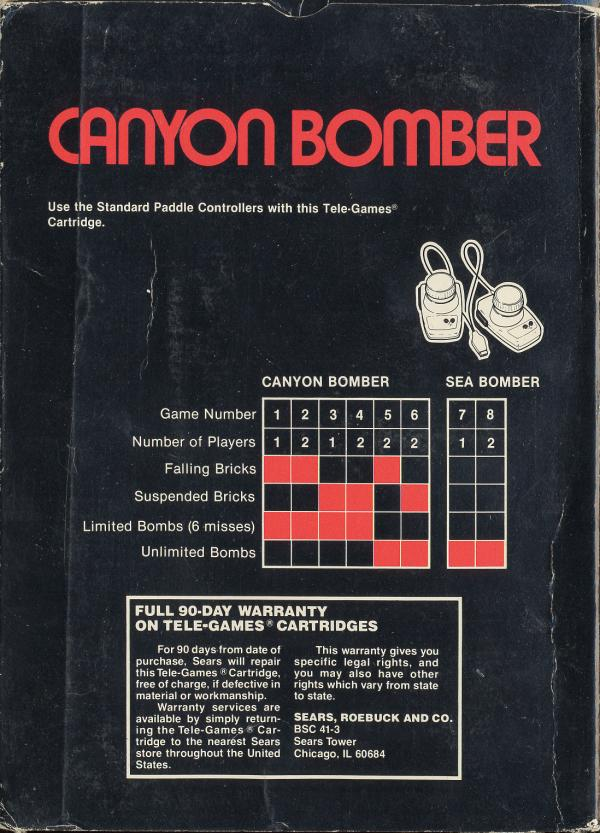 Canyon Bomber - Box Back