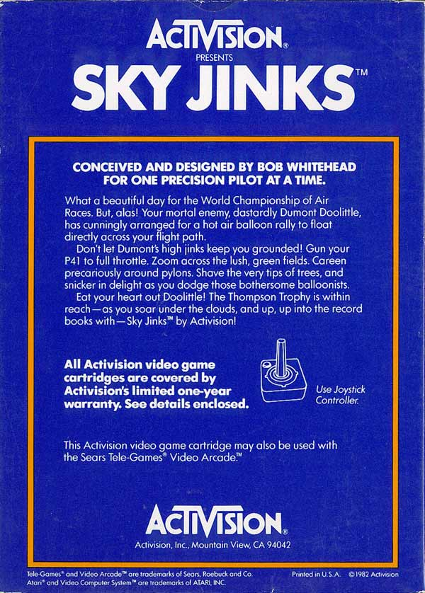 Sky Jinks - Box Back