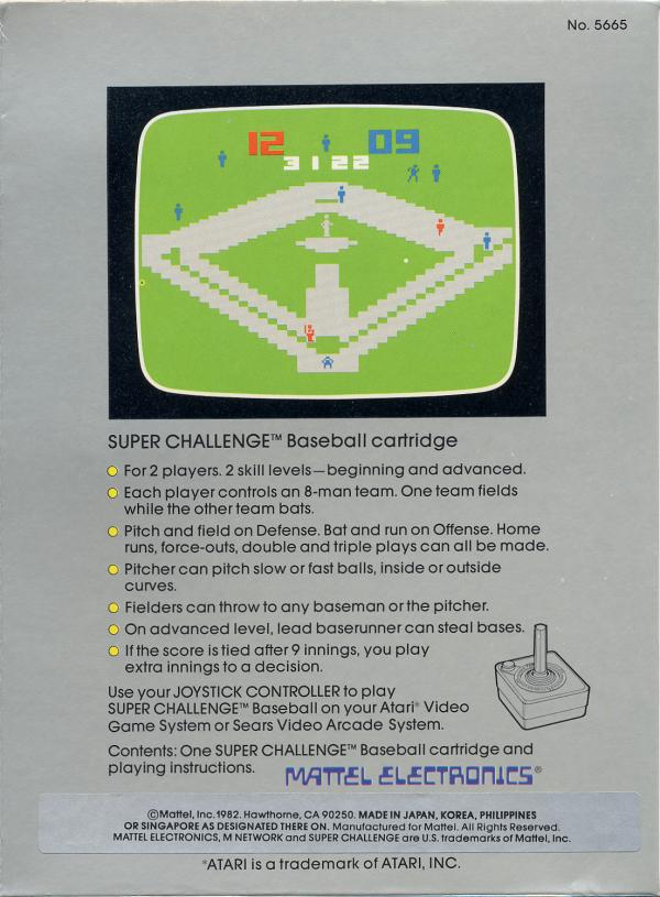 Super Challenge Baseball - Box Back
